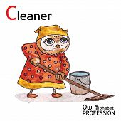 Alphabet professions Owl Letter C - Cleaner Vector Watercolor.