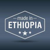 Made In Ethiopia Hexagonal White Vintage Label