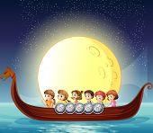 illustration of many children on a boat