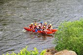 Rafting Tourists With An Experienced Instructor On The River Southern Bug