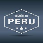 Made In Peru Hexagonal White Vintage Label