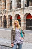 Attractive Girl Near The Arena Of Verona - The Place Of Annual Festival Operas In Verona, Italy