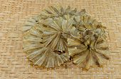 Dried Fish On  Basketwork Background