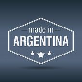Made In Argentina Hexagonal White Vintage Label