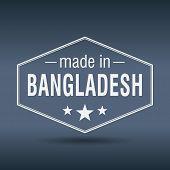 Made In Bangladesh Hexagonal White Vintage Label