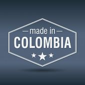 Made In Colombia Hexagonal White Vintage Label