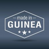 Made In Guinea Hexagonal White Vintage Label