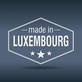 Made In Luxembourg Hexagonal White Vintage Label