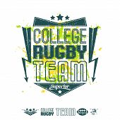 Rugby Emblem Bright Print And Design Elements