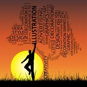 Concept or conceptual white abstract art tree and grass shape word cloud, a man jumping on sunset with sun background