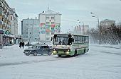 VORKUTA - JANUARY 21: Lenina street on January 21, 2013 in Vorkuta