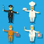 Cartoon Chief Cook Worker Repairer Police Officer Doctor Medic Character Symbol Icon Flat Design Vec