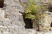 Caves Of Medieval Town Chufut Kale In Crimea