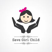 save girl child concept stock vector