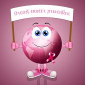 Pink Earth With Pink Awareness Ribbon