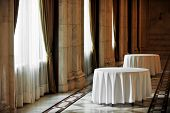 Empty Round Dinner Tables