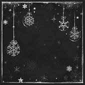 Christmas background on chalkboard, hand-drawn illustration.