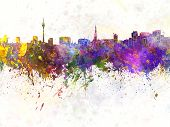 Dusseldorf Skyline In Watercolor Background