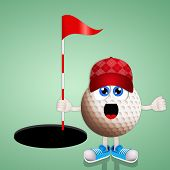 Funny Golf Ball With Flag