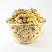 Roasted peanuts on Glass bowl
