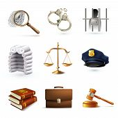 image of justice law  - Decorative law legal justice police icons set with briefcase scales prisoner isolated vector illustration - JPG