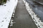 snow on sidewalk and street, symbol for accident risk and photo r�?�?�?�¤umpflicht