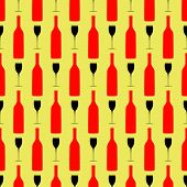 Seamless Background Pattern With Bottle And Wineglass.eps