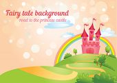 Beautiful fairy tale background with road to princess castle. Vector illustration.