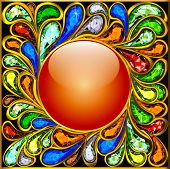 Background Round Frame Made ??of Precious Stones