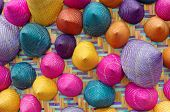 foto of conic  - the composition of colorful conical woven bamboo - JPG