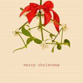 a branch of common mistletoe with a red ribbon bow, and the sentence merry christmas on a beige background, with a retro effect