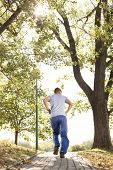 Full length rear view of man jogging in park