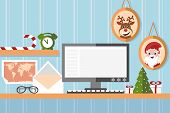 santa claus workstation on blue background