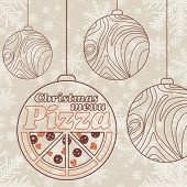 Abstract vector Christmas menu for Pizza