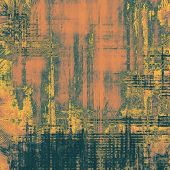 Abstract composition on textured, vintage background with grunge stains. With different color patterns: brown, orange, green, gray