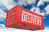 World Wide Delivery - Red Hanging Cargo Container.
