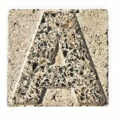 Letter A Carved In A Concrete Block  - A Concrete Block With The Letter