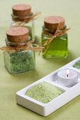 Green bath products on table