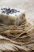 Natural lavender soap, shallow focus
