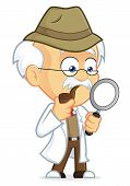 stock photo of physicist  - Clipart Picture of a Professor Detective Cartoon Character - JPG