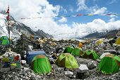 foto of sherpa  - Colorful tents and Tibetan prayer flags at Everest Base Camp - JPG