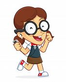 picture of dork  - Clipart Picture of a Girl Geek Cartoon Character Listening to Music and Dancing - JPG
