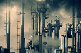stock photo of polluted  - oil and gas refinery - JPG