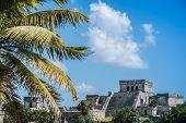 picture of mayan  - Mayan Ruins Besides Caribbean Sea - JPG