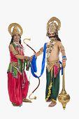 stock photo of ravana  - Two stage artists dressed - JPG