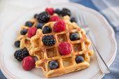 stock photo of berries  - Home made Waffles with fresh ripe berries - JPG