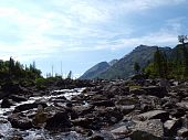 Falling-home from stones between the bottom and average lake Mult, mountain Altai 17