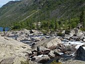 Falling-home from stones between the bottom and average lake Mult, mountain Altai  6