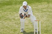pic of cricket ball  - Cricket wicketkeeper catching a ball behind stumps - JPG