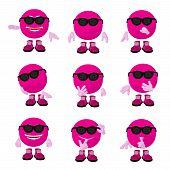 stock photo of feeling stupid  - Cute pink emoticon art illustration on a white background - JPG